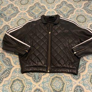 adidas Women's Blk Leather Crop Jkt size L